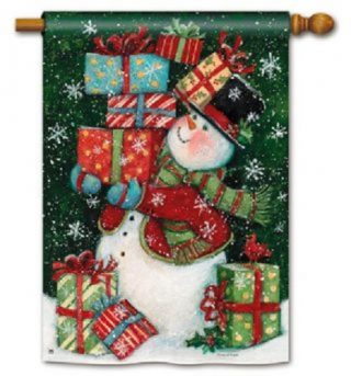 All Wrapped Up House Flag | Christmas Flags | Snowman Flag | Yard Flag