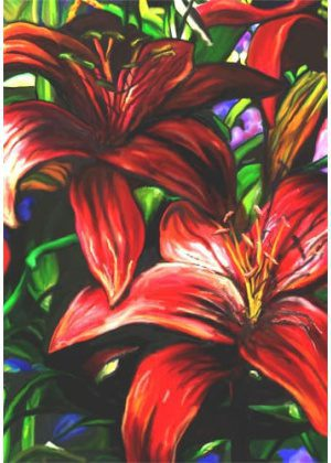 Crimson Lilies Flag | Floral Flags | Spring Flags | Summer Flags | Yard Flag