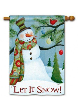 Let It Snow House Flag | Winter Flags | Snowman Flags | Two-sided Flags