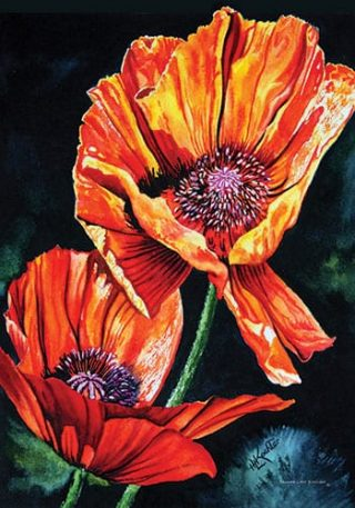 Two Orange Poppies Flag | Yard Flags | Garden Flags | Floral Flags | Flags