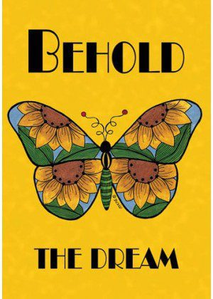 Butterfly Behold Yellow Flag | Yard Flags | Cool Flags | Inspirational Flags