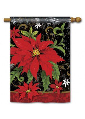Classic Poinsettia House Flag | Christmas Flags | Yard Flags | Cool Flags
