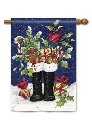 Santa Boots House Flag | Christmas Flags | Holiday Flags | Yard Flags
