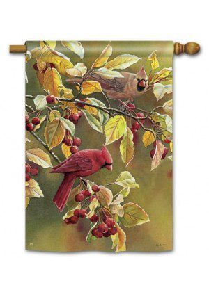 Cardinal Afternoon House Flag | Fall Flags | Bird Flags | Garden Flags