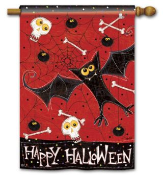 Bats and Bones House Flag | Halloween Flags | Holiday Flags | Fall Flags