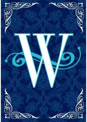 Blue Teal Monogram-W Flag | Monogram Flags | Winter Flags | Yard Flags