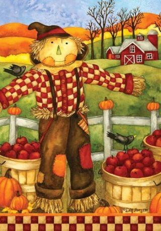Checkered Scarecrow Flag | Thanksgiving Flags | Fall Flags | Garden Flag