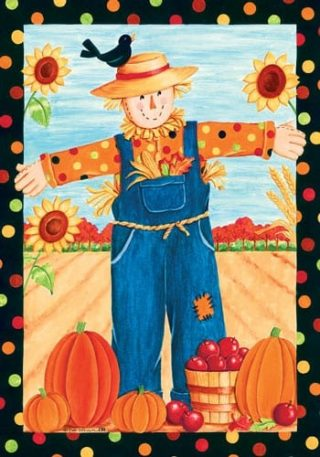 Polka Dot Scarecrow Flag   Thanksgiving Flags   Fall Flags   Holiday Flags