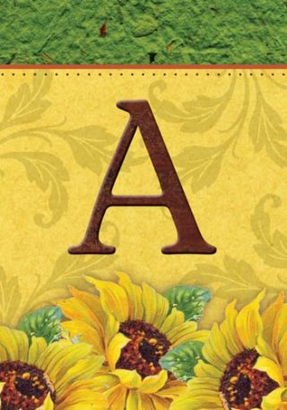 Sunflower Monogram-A Flag | Monogram Flags | Fall Flags | Yard Flags