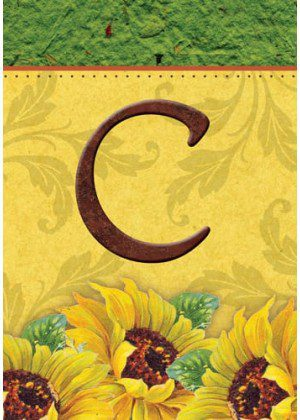 Sunflower Monogram-C Flag | Monogram Flags | Fall Flags | Yard Flags