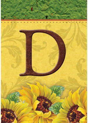 Sunflower Monogram-D Flag | Monogram Flags | Fall Flags | Yard Flags