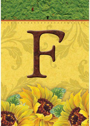 Sunflower Monogram-F Flag | Monogram Flags | Fall Flags | Yard Flags