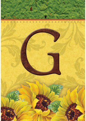 Sunflower Monogram-G Flag | Monogram Flags | Fall Flags | Yard Flags