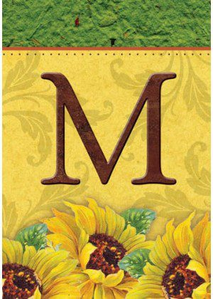 Sunflower Monogram-M Flag | Monogram Flags | Fall Flags | Yard Flags