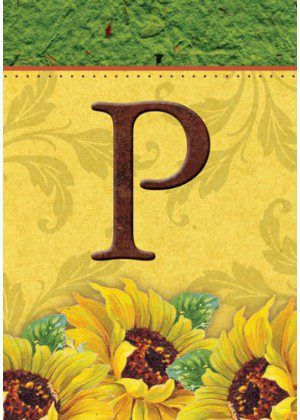 Sunflower Monogram-P Flag | Monogram Flags | Fall Flags | Yard Flags