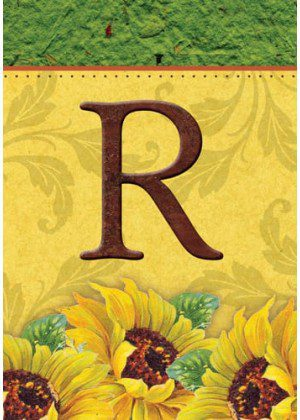 Sunflower Monogram-R Flag | Monogram Flags | Fall Flags | Yard Flags
