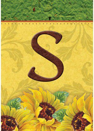 Sunflower Monogram-S Flag | Monogram Flags | Fall Flags | Yard Flags