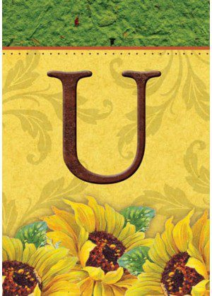 Sunflower Monogram-U Flag | Monogram Flags | Fall Flags | Yard Flags