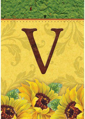 Sunflower Monogram-V Flag | Monogram Flags | Fall Flags | Yard Flags