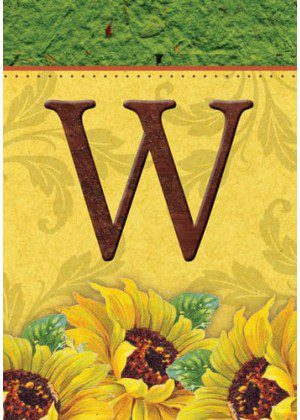 Sunflower Monogram-W Flag | Monogram Flags | Fall Flags | Yard Flags
