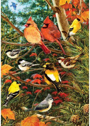 Songbirds on Pine Flag | House Flags | Bird Flags | Fall Flags | Cool Flags