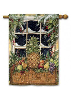 Window Box Welcome House Flag | Winter Flags | Welcome Flags