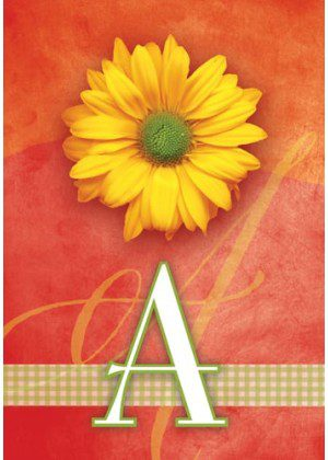 Yellow Daisy Monogram-A Flag | Monogram Flags | Floral Flag | Yard Flag