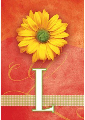Yellow Daisy Monogram-L Flag | Monogram Flags | Floral Flag | Yard Flag