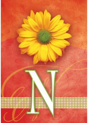 Yellow Daisy Monogram-N Flag | Monogram Flags | Floral Flag | Yard Flag