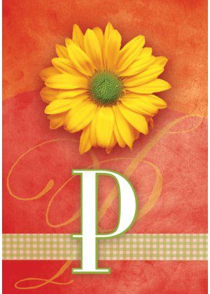 Yellow Daisy Monogram-P Flag | Monogram Flags | Floral Flag | Yard Flag
