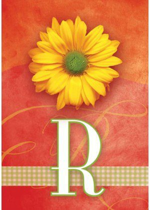 Yellow Daisy Monogram-R Flag | Monogram Flags | Floral Flag | Yard Flag