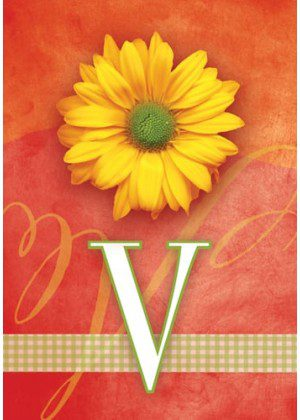 Yellow Daisy Monogram-V Flag | Monogram Flags | Floral Flag | Yard Flag