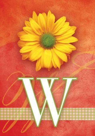 Yellow Daisy Monogram-W Flag | Monogram Flags | Floral Flag | Yard Flag