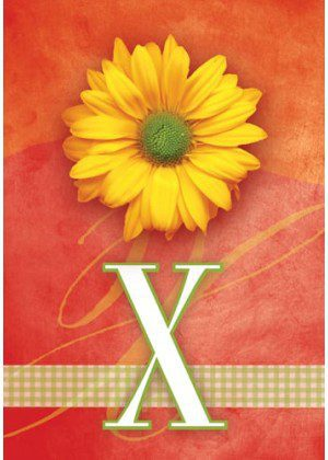 Yellow Daisy Monogram-X Flag | Monogram Flags | Yard Flag | Floral Flag