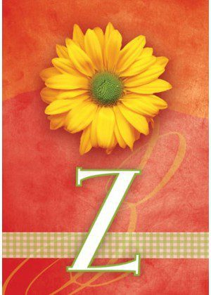 Yellow Daisy Monogram-Z Flag | Monogram Flags | Floral Flag | Yard Flags
