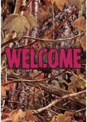 Pink Camo Welcome Flag | Welcome Flag | Cool Flag | Double Sided Flag