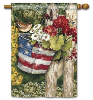 Patriotic Pail House Flag   Patriotic Flags   4th of July Flags   Summer Flag