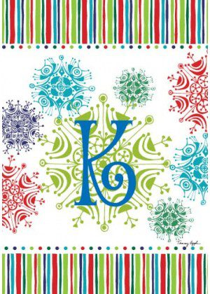 Snowflake Monogram-K Flag | Monogram Flags | Winter Flags | Yard Flags