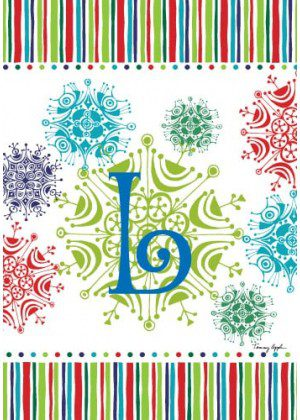 Snowflake Monogram-L Flag | Monogram Flags | Winter Flags | Yard Flags