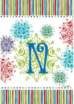 Snowflake Monogram-N Flag | Monogram Flags | Winter Flags | Yard Flags