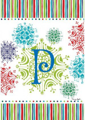 Snowflake Monogram-P Flag | Monogram Flags | Winter Flags | Yard Flags