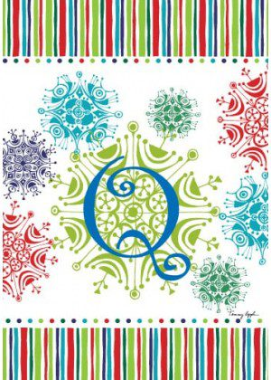 Snowflake Monogram-Q Flag | Monogram Flags | Winter Flags | Cool Flags