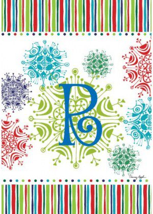 Snowflake Monogram-R Flag | Monogram Flags | Winter Flags | Yard Flags