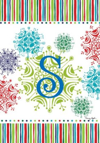 Snowflake Monogram-S Flag | Monogram Flags | Winter Flags | Yard Flags