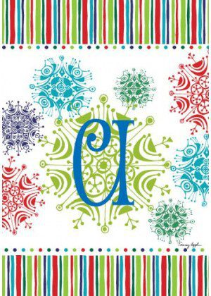 Snowflake Monogram-U Flag | Monogram Flags | Winter Flags | Yard Flags