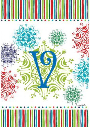 Snowflake Monogram-V Flag | Monogram Flags | Winter Flags | Yard Flags