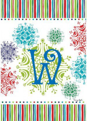 Snowflake Monogram-W Flag | Monogram Flags | Winter Flags | Yard Flag