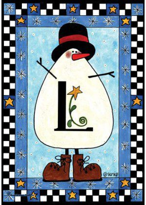 Snowman Monogram-L Flag | Monogram Flags | Winter Flags | Yard Flags
