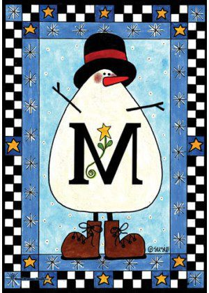 Snowman Monogram-M Flag | Monogram Flags | Winter Flags | Yard Flags