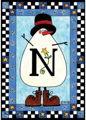 Snowman Monogram-N Flag | Monogram Flags | Winter Flags | Yard Flags